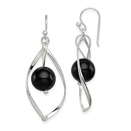 925 Sterling Silver Twist Drop Dangle Chandelier Black Onyx Earrings Fine Jewelry Gifts For Women For Her