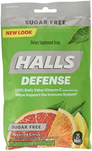 Halls Defense Sugar-Free Vitamin C Citrus 25 Drops/Pack (Pack of 6)