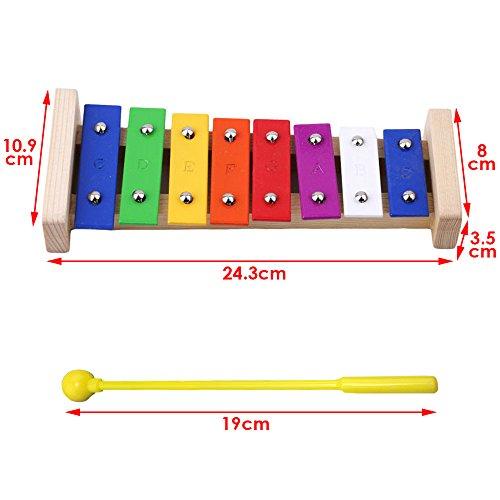 JJPRIME Mini musiciens performance 8 notes Xylophone Glockenspiel jouet pour les enfants avec des barres colorées et des maillets en bois avec des batteurs