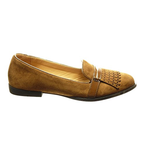 Angkorly - Chaussure Mode Mocassin slip-on femme frange perforée métallique Talon bloc 1.5 CM - Camel
