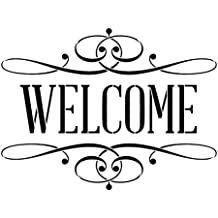 "Welcome Stencil by StudioR12 | Skinny, Serif Flourished Word Art - Reusable Mylar Template | Painting, Chalk, Mixed Media | Use for Crafting, DIY Home Decor - STCL1006 … (19.5"" x 14)"