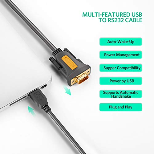 UGREEN USB 2.0 to RS232 DB9 Serial Cable Male A Converter Adapter with PL2303 Chipset for Windows 10, 8.1, 8, 7, Vista, XP, 2000, Linux and Mac OS X 10.6 and Above (6ft) by UGREEN (Image #2)