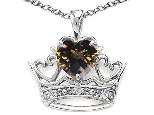 Tommaso Design Heart Shape 6 mm Genuine Smoky Quartz Crown Pendant Necklace 14 kt White -