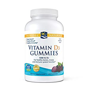Nordic Naturals Vitamin D3 Gummies, Healthy Bones, Mood, and Immune System Function, 120 Count (Wild Berry Flavor)