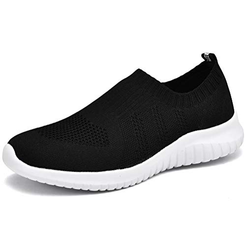 LANCROP Women's Lightweight Walking Shoes - Casual Breathable Mesh Slip On Sneakers 10 M US Black