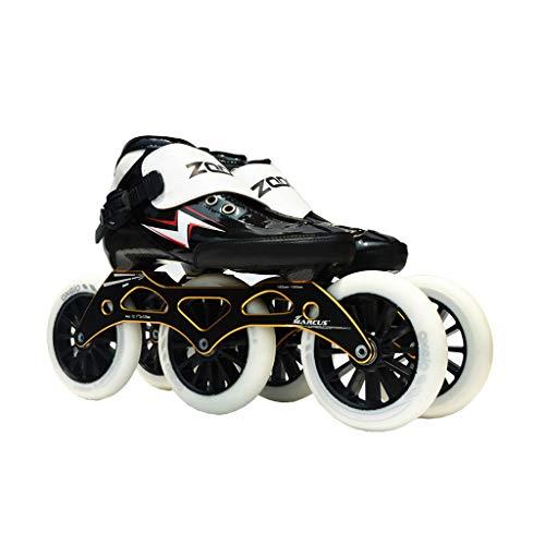 シェア写真の十分ですailj スピードスケート靴3 * 125MM調整可能なインラインスケート、ストレートスケート靴(黒) (色 : 黒, サイズ さいず : EU 38/US 6/UK 5/JP 24cm)