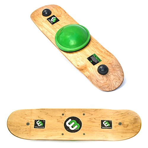 Whirly Board - Spinning Balance Board and agility trainer w/ clear skateboard grip tape,Green center ball