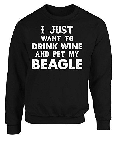 Adult Sweatshirt Beagle - I Just Want To Drink Wine And Pet My Beagle - Adult Sweatshirt L Black