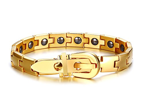 Link Tone Chain Silver Belt (Men's Stainless Steel Bracelet Chain Bangle Cuff Adjustable Tone Belt Buckle Classic ,Gold)