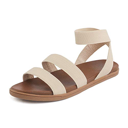 DREAM PAIRS Women's Elastic Flat Sandals Size 11 M US Nude Dumbo-Stretch