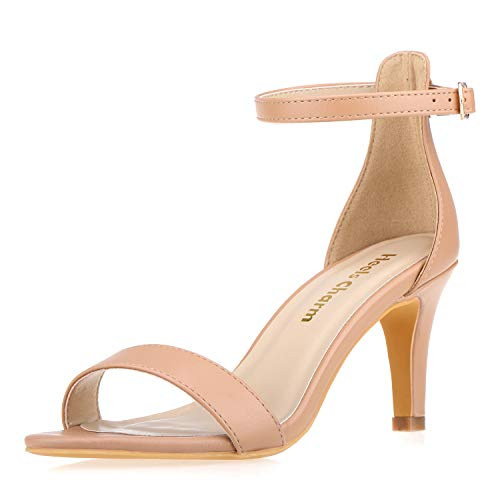 Women's Strappy Heeled Sandals Open Toe Stiletto Ankle Strap High Heel 2.76 Inch Dress Shoes Nude Size 6