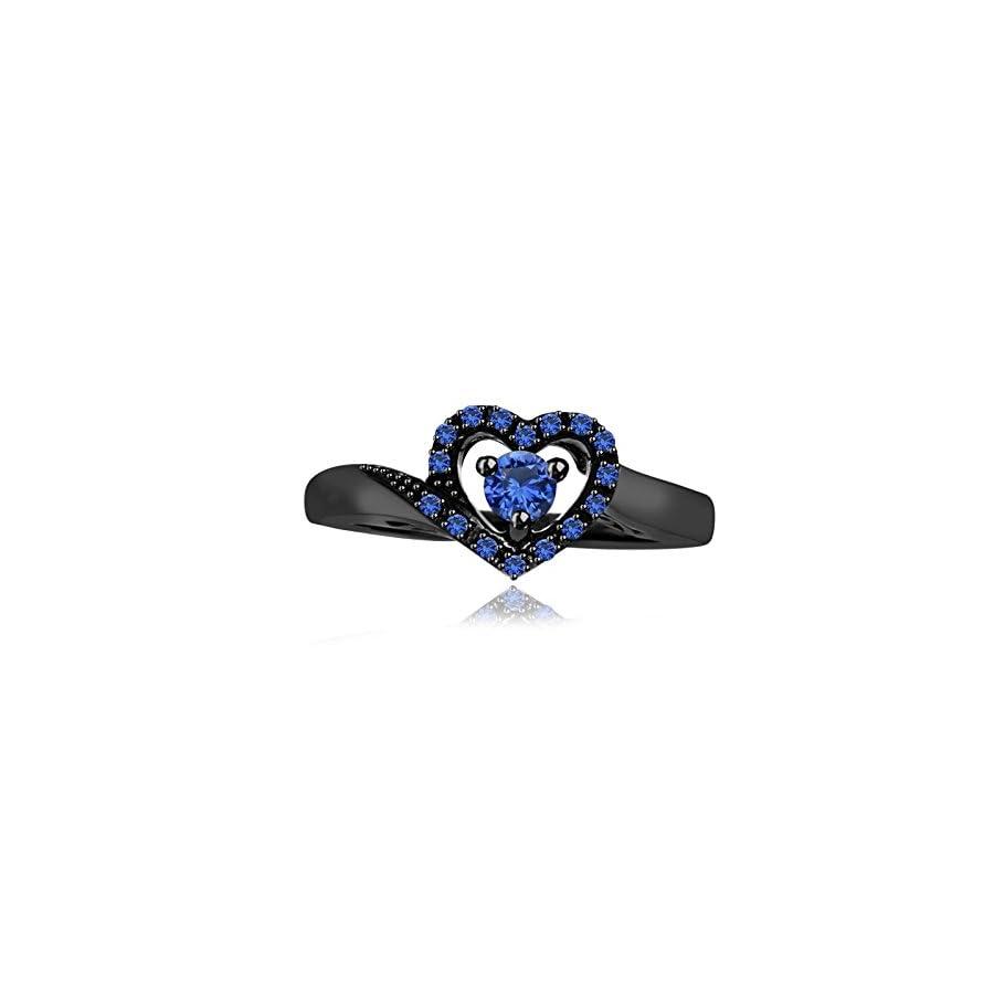 tusakha 0.35 Ct Round Blue Sapphire 18k Black Gold Plated Heart Shape Promise Ring For Women's