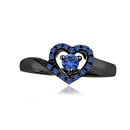 tusakha 0.35 Ct Round Blue Sapphire 18k Black Gold Plated Heart Shape Promise Ring For Women's