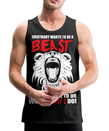 Spreadshirt Everybody Wants to Be A Beast Gym Quote Men's Premium Tank, 2XL, Black (Everybody Wants To Be A Bodybuilder Shirt)