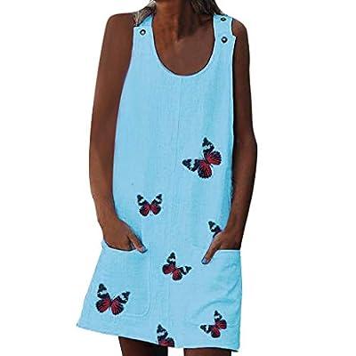 ANJUNIE Women Tank Tops Dress O-Neck Sleeveless Shoulder Clasp Print Cotton and Linen Baggy Dress