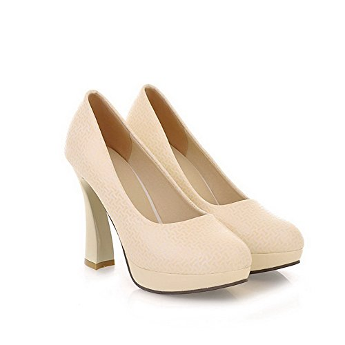 Allhqfashion Mujer's Patent Leather Pull-on Round Toe Tacones Altos Sólidos Bombas-zapatos, Beige, 34