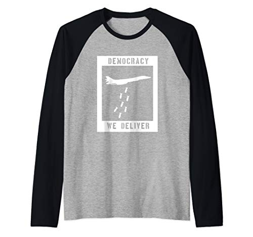 Democracy - We Deliver Peaceful Protest Punk Rock Design Raglan Baseball Tee