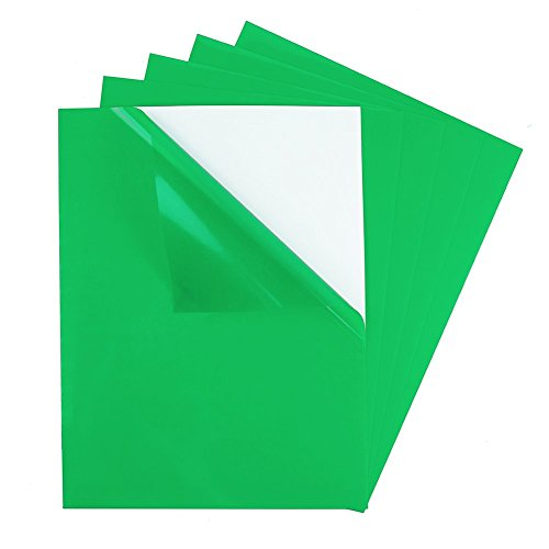 (5 Pack) Transparent Color Rigid Vinyl with Adhesive Tinted Plastic Film Peel & Stick Sticker Sheet, Full Page 8½
