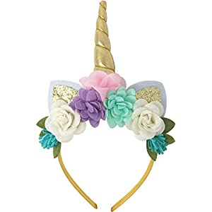 Posh Peanut Unicorn Childrens Party Hat Horn Glitter Hard Headband Spiral Unicorn Horn Photo Props Cosplay (Pink, Purple…