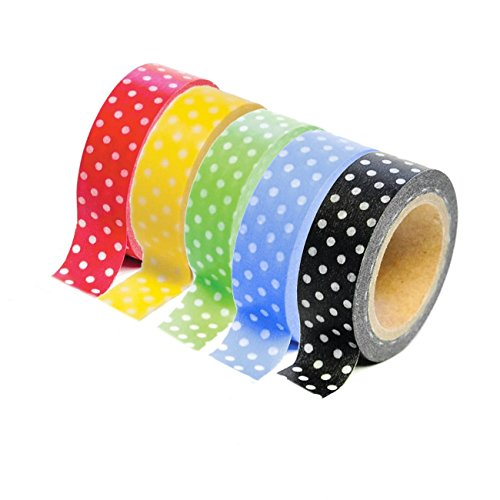 Dress My Cupcake DMC29223 Washi Decorative Tape for Gifts and Favors, Polka Dot Collection, Set of 5 (Polka Box Wooden Dot Tissue)