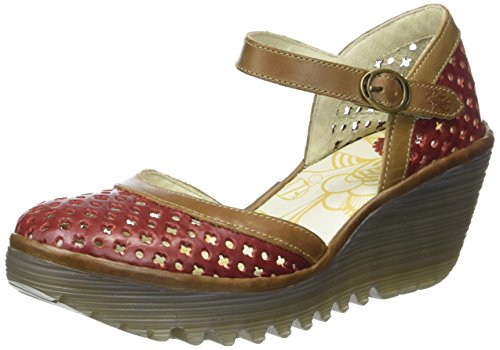 Fly London Yadu732fly, Scarpe con Zeppa da Donna Rosso (Red/Camel 005)