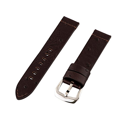 Clockwork Synergy Dapper Collection - 20mm Brown Ostrich Grain Leather Watch Band
