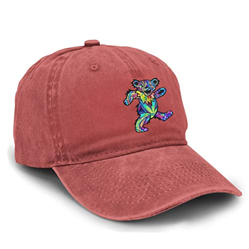 LicShoow Grateful Dead Dancing Bear Unisex Vintage Washed Distressed Baseball-Cap Twill Adjustable Dad-Hat Red
