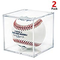 AIFUSI Baseball Display Case, UV Protected Acrylic Cube Baseball Holder Square Clear Box Memorabilia Display Storage Sports Official Baseball Autograph Display Case - Fits Official Size Ball