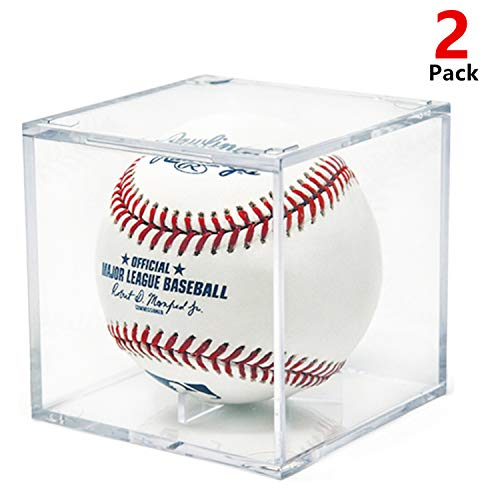 AIFUSI Baseball Display Case, UV Protected Acrylic Cube Baseball Holder Square Clear Box Memorabilia Display Storage Sports Official Baseball Autograph Display Case - Fits Official Size Ball (2 Pack)