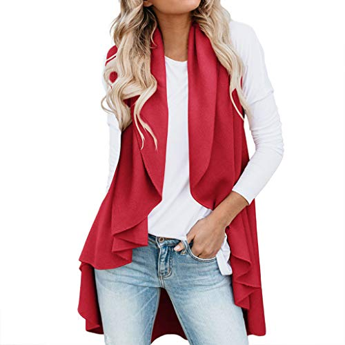 HYIRI Women's Wild Irregular Cardigan Top Jacket Red
