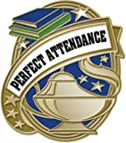 1'' Gold Kudos Perfect Attendance Pins - School Attendance Lapel Pin Awards 100 Pack Prime