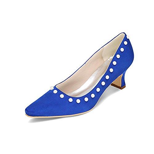 mariage bleu épais et pour L avec 01Z pointu personnalisées femmes talons à de hauts YC 0723 Chaussures 51OxUU