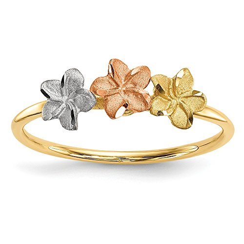 14k Two Tone Yellow Gold White 3 Flower Band Ring Size 7.00 Flowers/leaf Fine Jewelry Gifts For Women For Her