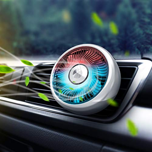 Eurobuy Car Fan, Car Air Vent USB Fans Auto Cooling Fan 3 Speeds Quiet Powerful Suction Cup Fan with Colorful Light, Car Mini Air Conditioner Freshener Fan for Family Car/Sedan/SUV/Boat