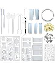 CCMART Moldes de resina y conjunto de herramientas, moldes de joyería de resina de silicona con 100 pernos de ojo de tornillo de resina colgante hacer bricolaje