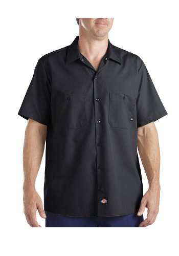 Dickies - LS535 - Industrial Short Sleeve Work Shirt, Size: 3X-Large Tall, Color: Indigo Khaki Stripe