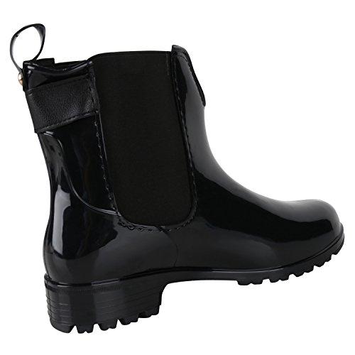 Japado Regenschuhe Damen Gummistiefel mit Block Absatz Chelsea Boots Gr. 36-41 Schwarz Nero
