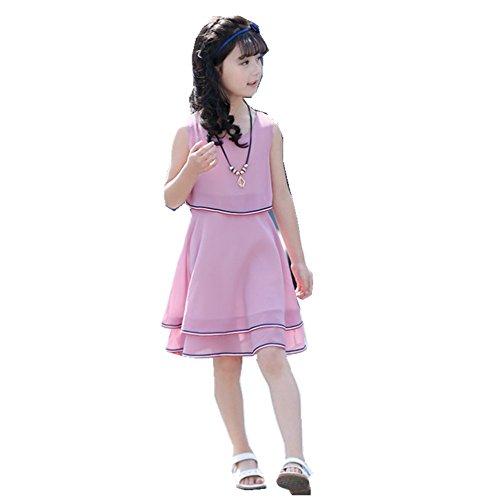 FTSUCQ Girls Chiffon Necklace Bowknot Princess Dress + 3PCS Floral Handkies,Purple,120 ()