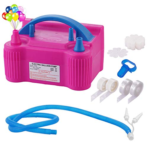 Portable Dual Nozzle 110V 600W Electric Balloon Pump Blower Inflator + Hose Extension and Balloon Decorating Strip Kit for All Party Balloons -