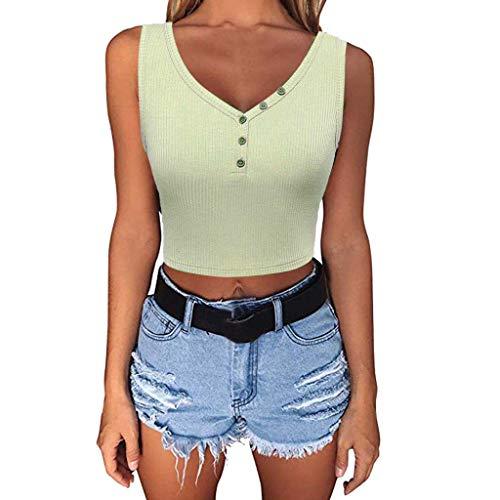 hositor Tank Tops for Women,Womens Summer Thread V Neck Sleeveless Lady Button Sport Vest Short Blouse Tops Green