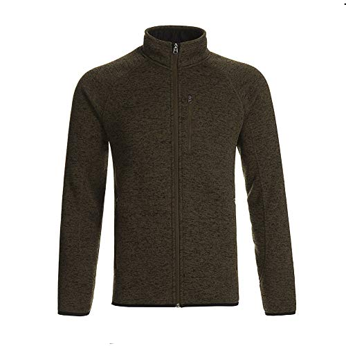 - Dolcevida Men's Soft Shell Sweatshirt Full-Zip Midweight Fleece Sweater Knit Jacket (Wood Green, M)