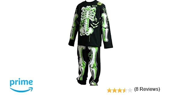 Childrens brillan en el oscuro esqueleto pijamas/Halloween disfraces traje negro con verde/blanco Bones 3 - 4 5 - 6 7 - 8 9 - 10: Amazon.es: Ropa y ...