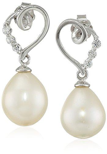 Drop Shaped Pearl Ring (Bella Pearl Heart Shaped Pearl Drop Earrings)
