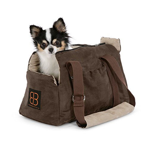 Petego Velvet Bitty Bag Pet Carrier, Espresso/Stone ()