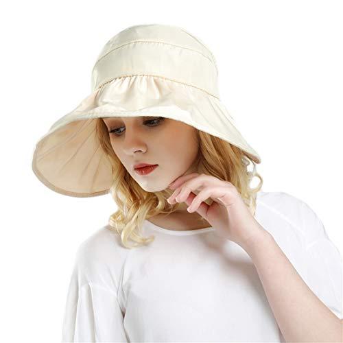 31e20f8ad4a Women Sun Hats Ponytail Wide Brim UV Protection Adjustable Packable Summer  Beach Visor Cap Beige