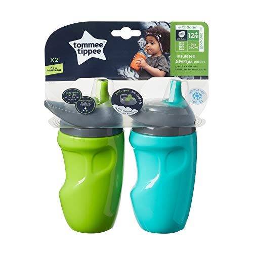 Tommee Tippee Insulated Sportee Toddler Water Bottle with Handle — 12m+, 2ct