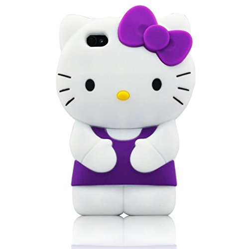 iPhone 6 Plus Case, Phenix-Color 3D Cute Cartoon Monster Blue Giant Horn University Style Silicone Rubber Case for iPhone 6 Plus 5.5 Inch (Hello Kitty - Case Rubber Style Silicone