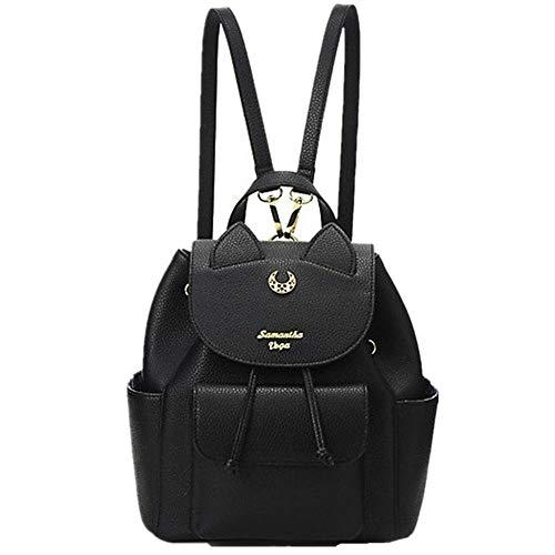 Sailor Moon Luna Classical Backpack Fashion School Students Shoulder Bag (Black)