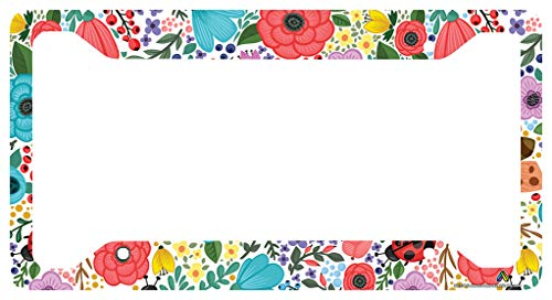 Airstrike Boho Flower License Plate Frame, Floral Pattern Car Tag Frame, Hippie License Plate Holder, Cute License Plate Frame-30-778 (Flower License Plates)