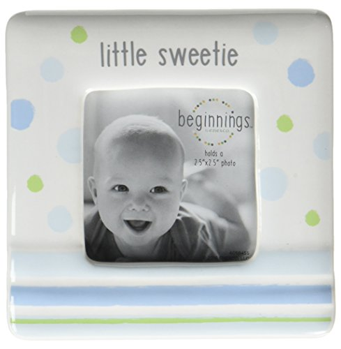 Beginnings by Enesco Little Sweetie Baby Boy Photo Frame, 4 inches, Blue and White
